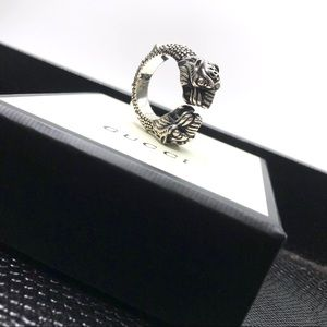 New GUCCI Sterling Silver Vintage Tiger Head Ring